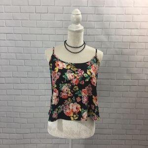 Cropped Hi-low Open Back Floral Tank Top